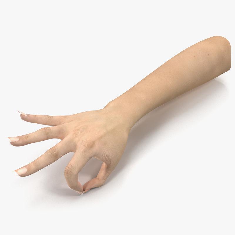 3d female hand 3 pose model