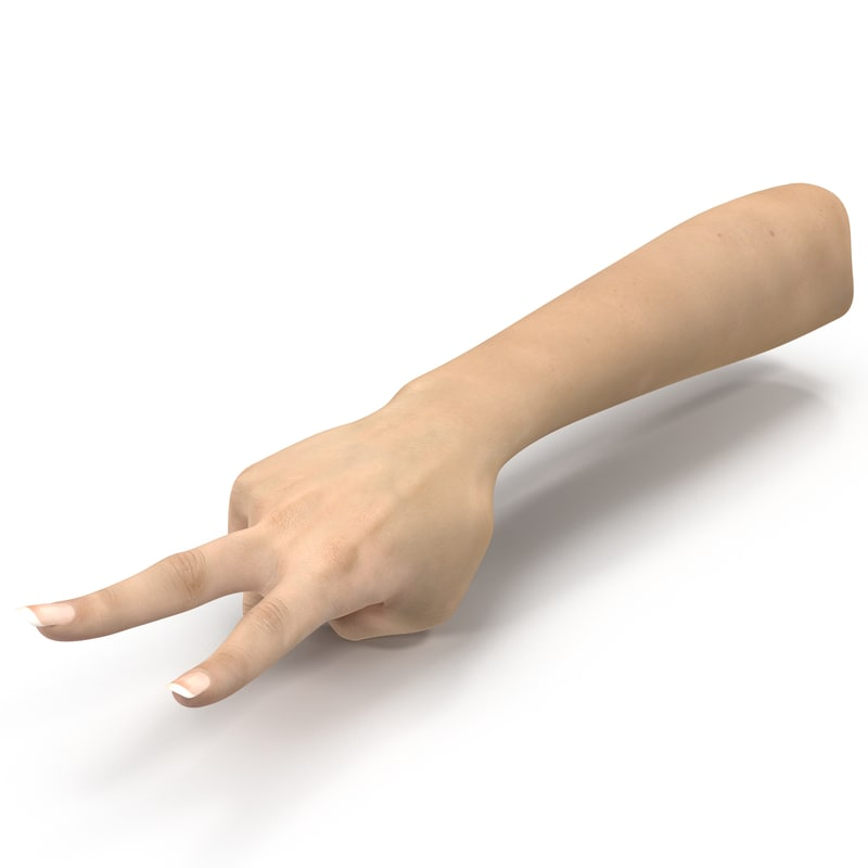 3d model female hand 3 pose