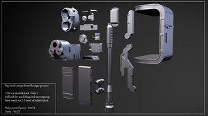 3d big mech props model