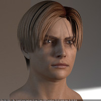 3d model human head male v6