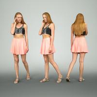 Girl in Pink Dress Walking