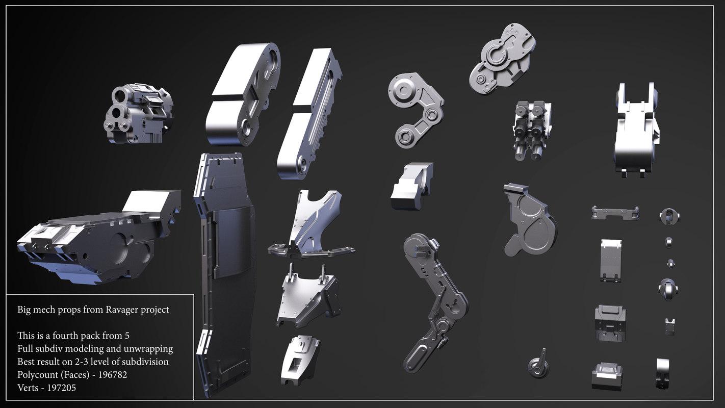 3d model big mech props