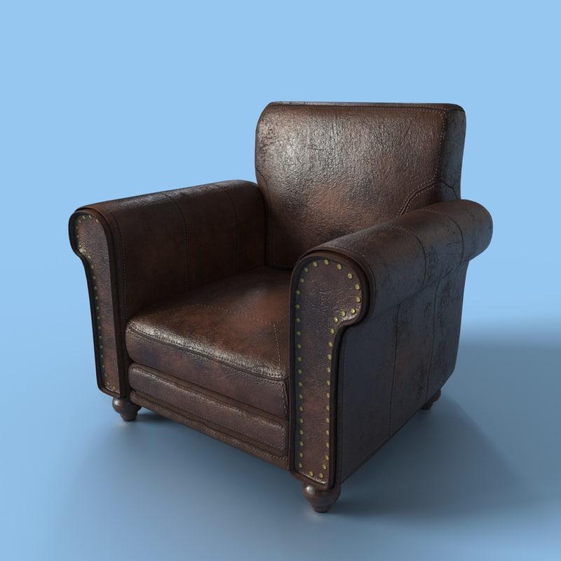 leather armchair obj