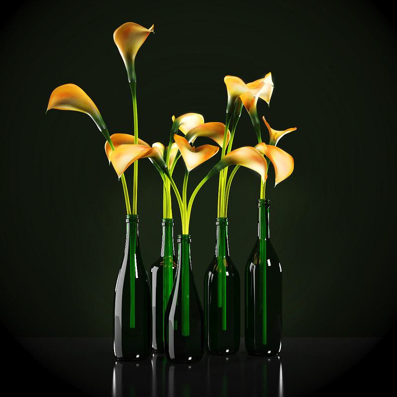 3d model orange calla lilies