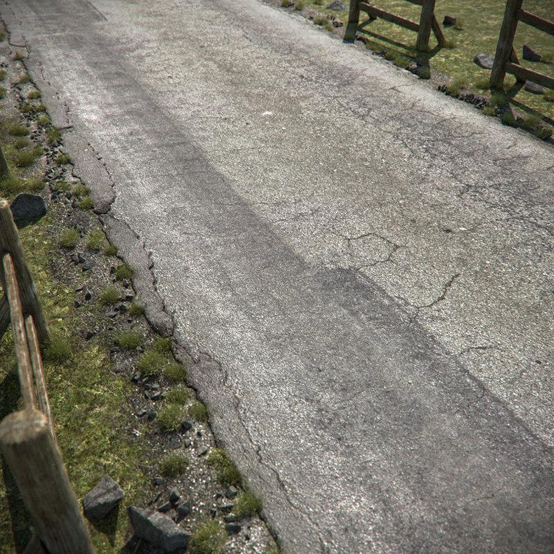 3d cracked asphalt road