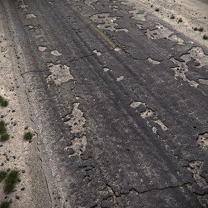 3d max cracked asphalt road