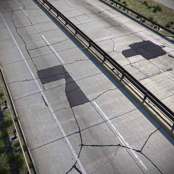 cracked asphalt road 3d model