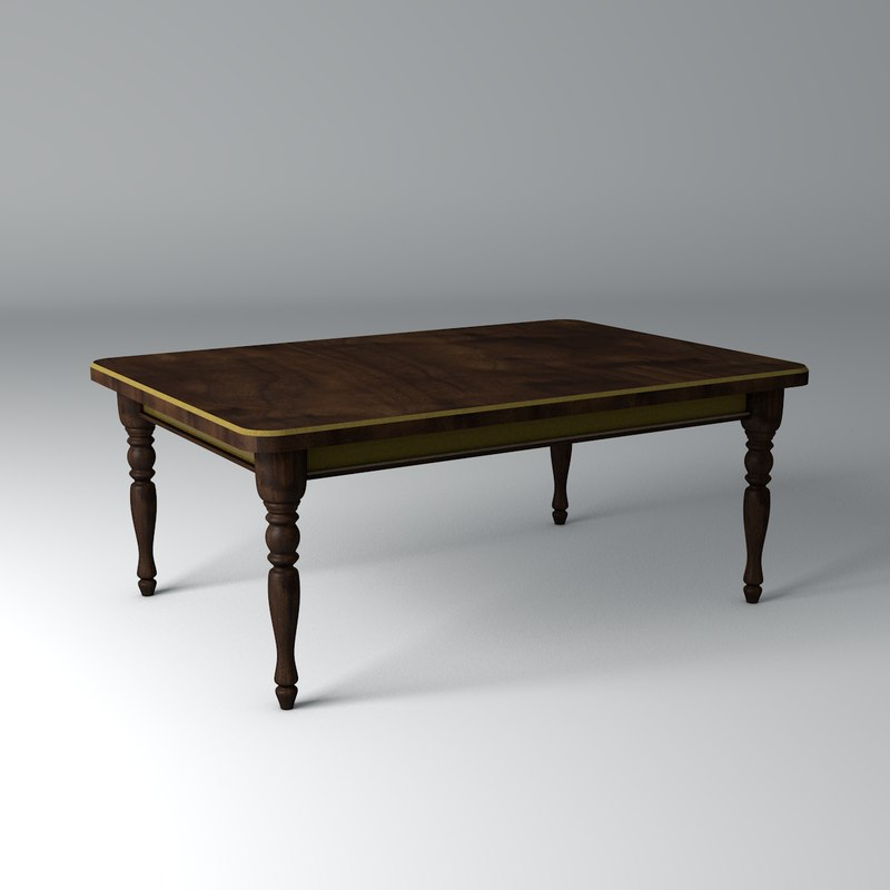 classic table walnut wood 3ds