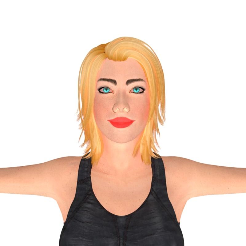 3d beauty girl ashley rigged model