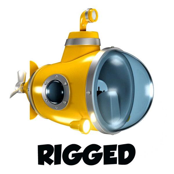 submarine rigged cartoon obj