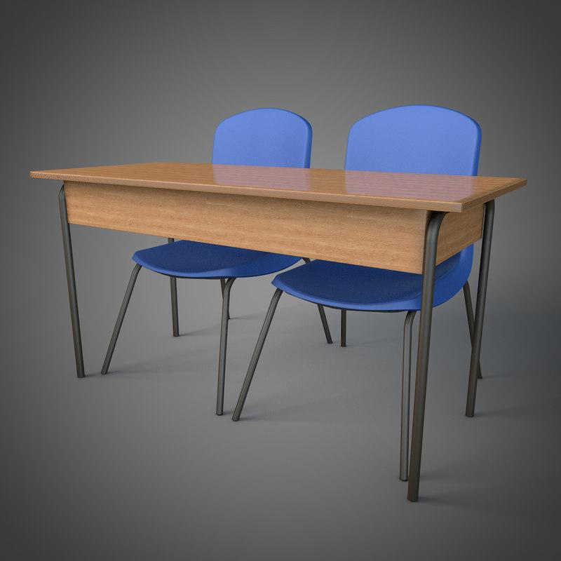 schooldesk school chairs c4d