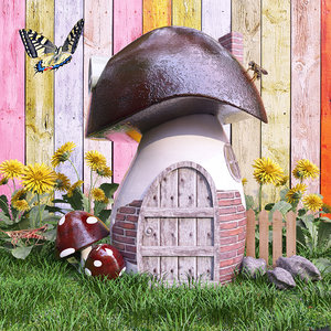 3d sculpture mushroom house flowers