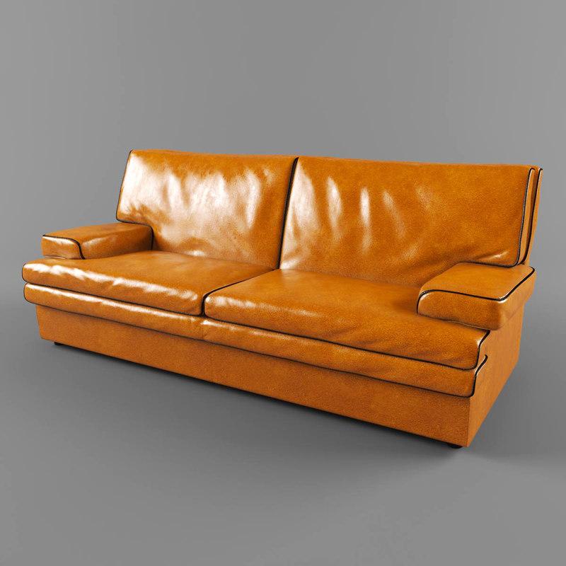 modern buffalo leather sofa obj