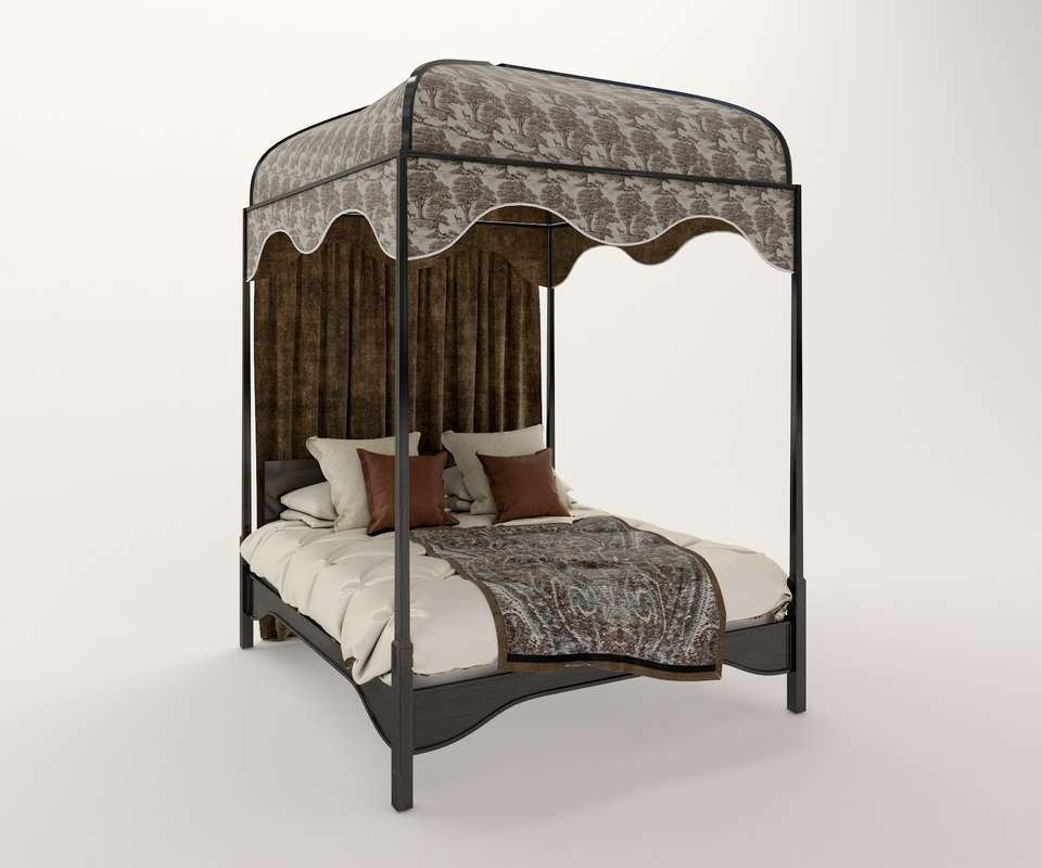3d classic canopy bed model