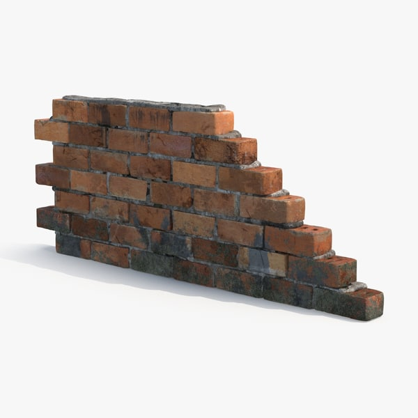 dirty brick wall section 3d model