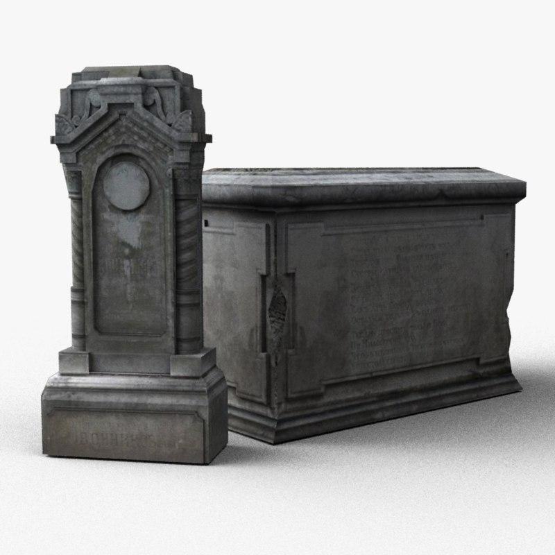 3d old tombstones model