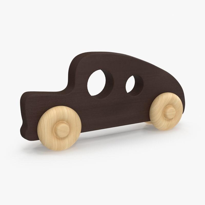 baby wooden car 1 3d model