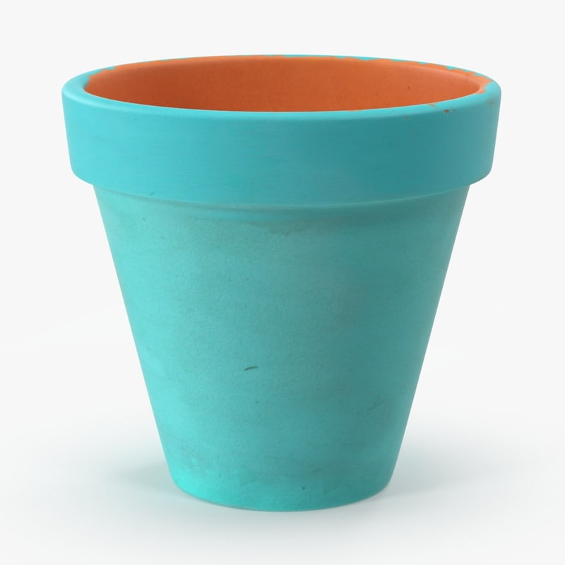 3d model of large painted flower pot