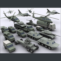 Army military combat vehicles low poly