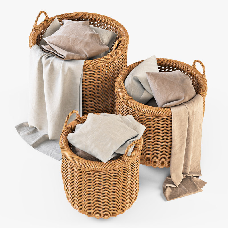 wicker basket cloth oat 3d model