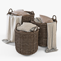 3d model wicker basket cloth brown