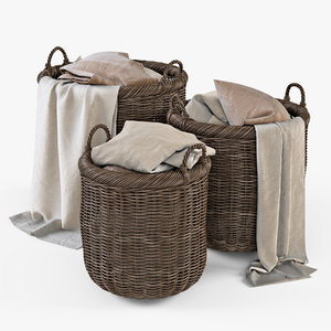 3d model wicker basket cloth brown