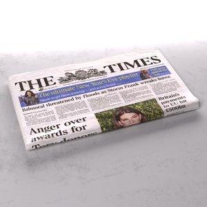 newspaper folds 3d max