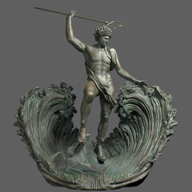 3d poseidon sculpture