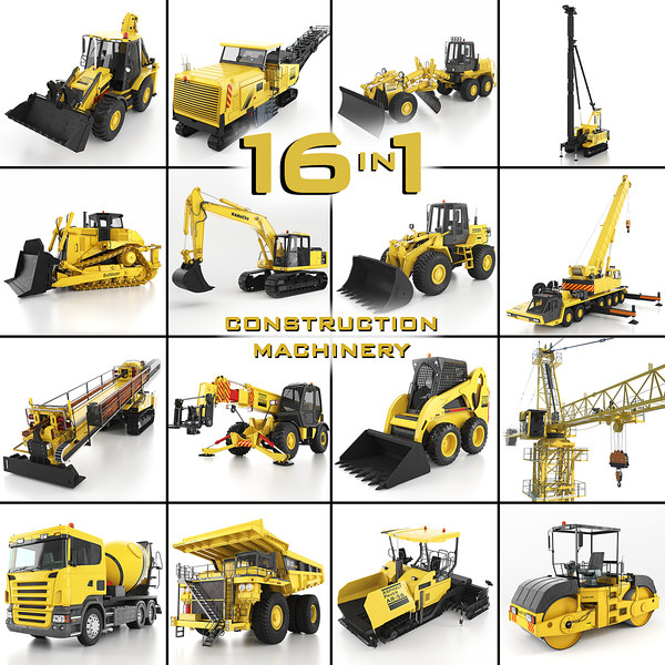 3d model heavy construction machinery equipment