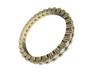 3d ring set diamonds model