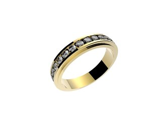 3d model ring set diamonds
