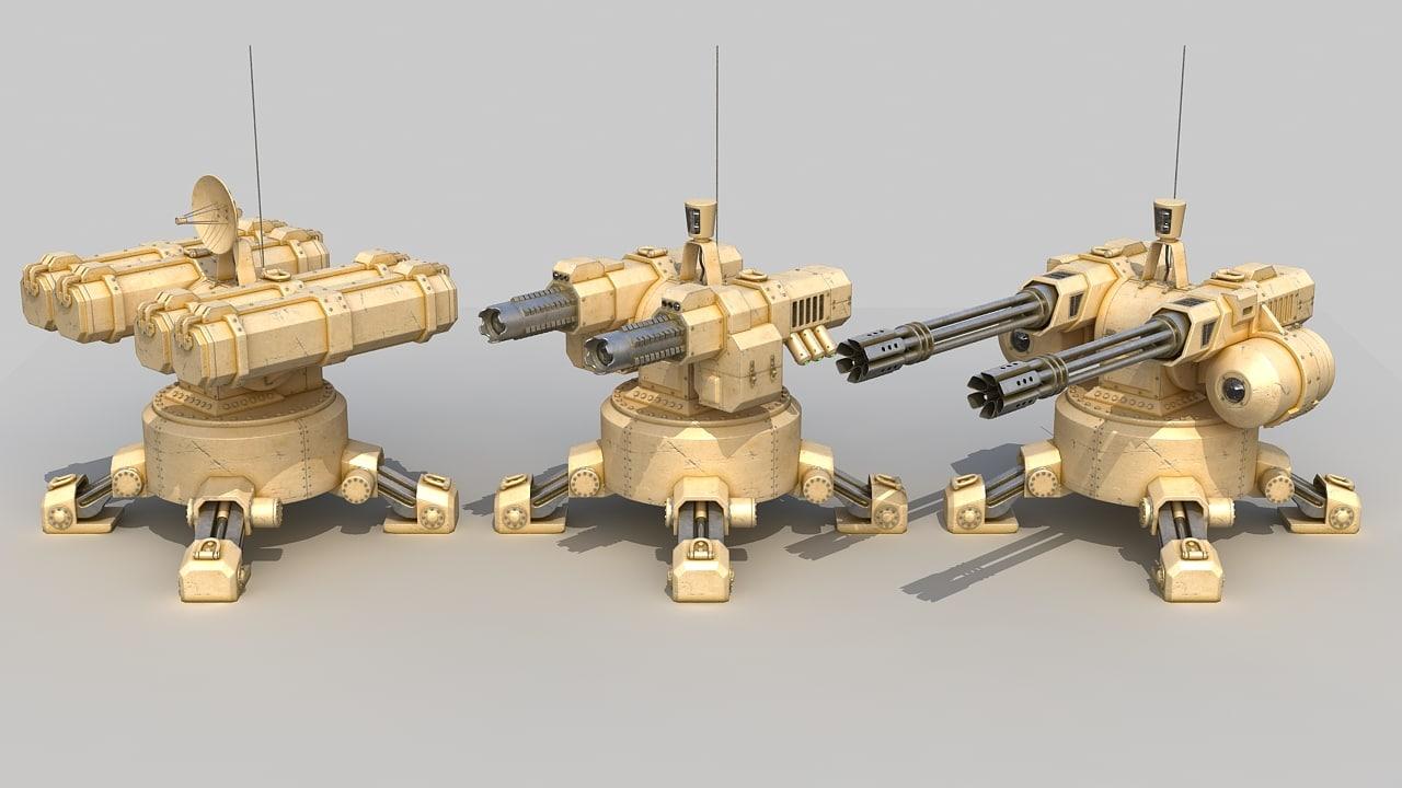 3d set automatic turrets model