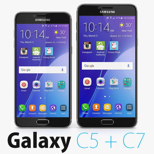2 samsung galaxy c5 3d model
