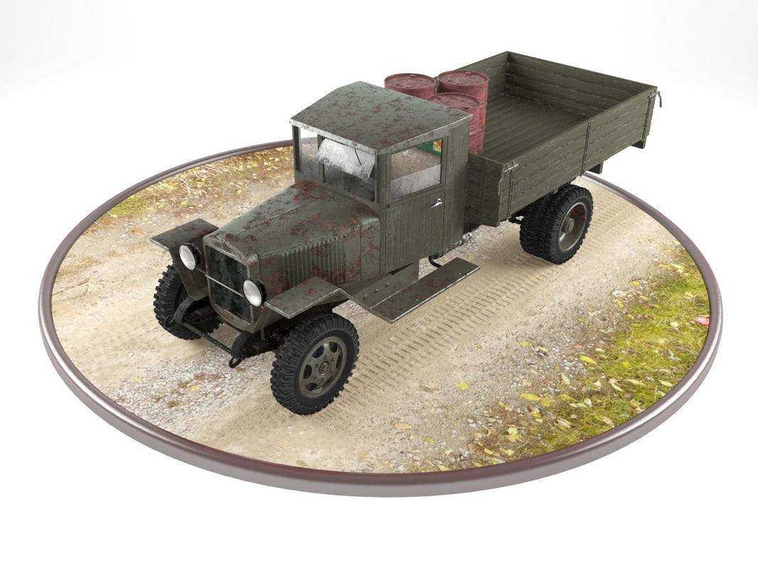 3d model military truck zis-5 real