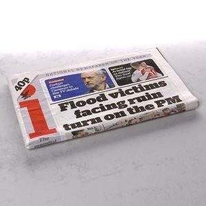 indipendent newspaper folds 3d model