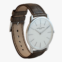 luxury silver brown watch 3d max