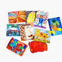 children s drawings gouache 3d model