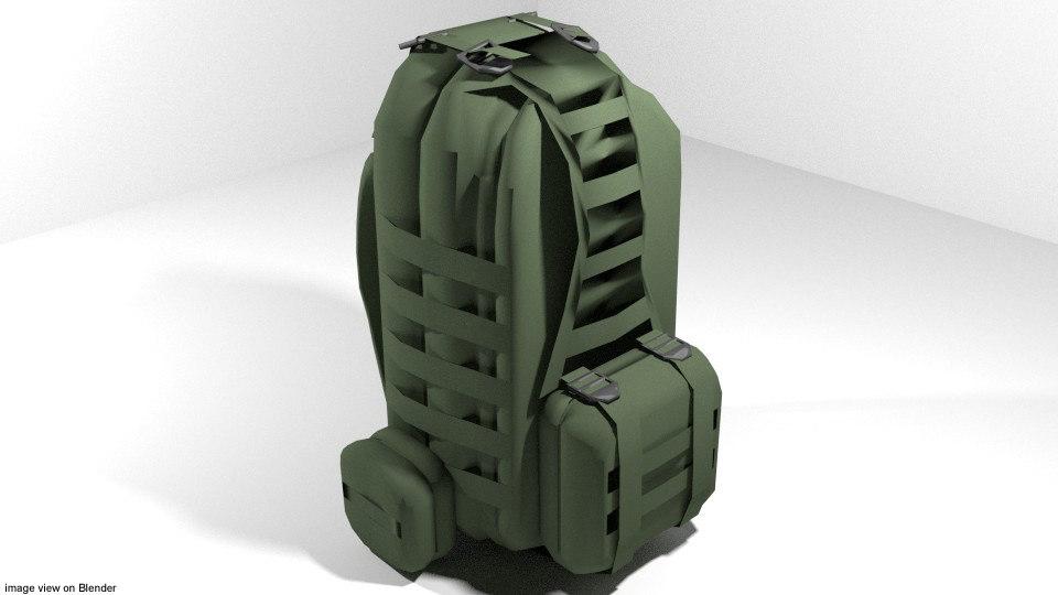 3d backpack military model