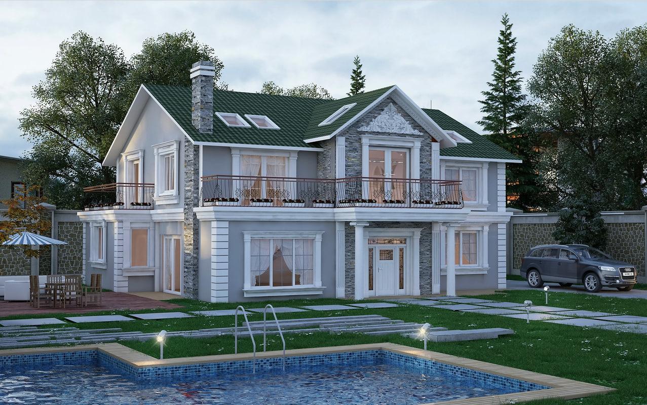 classic villa 3d max