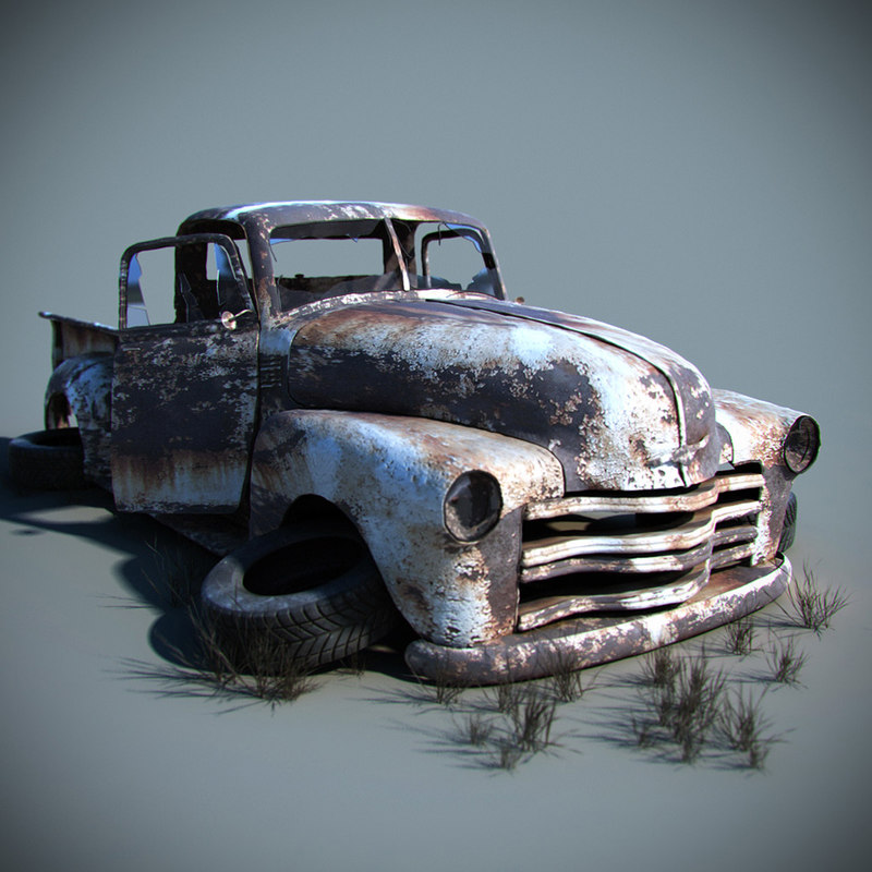 3d model old car wreck