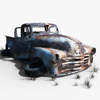 3d model old car wreck