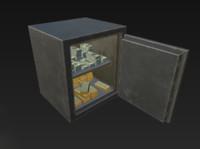 safe gold money stacks 3d model