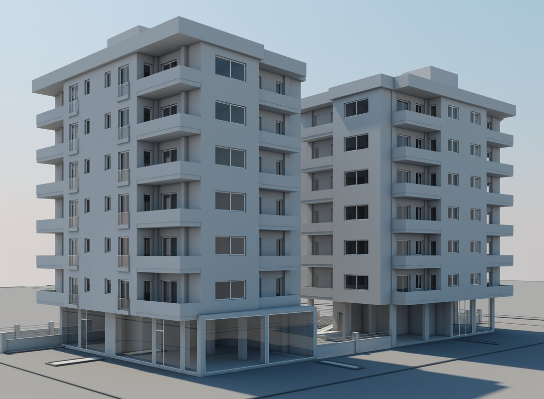 v-ray apartment buildings 3d model