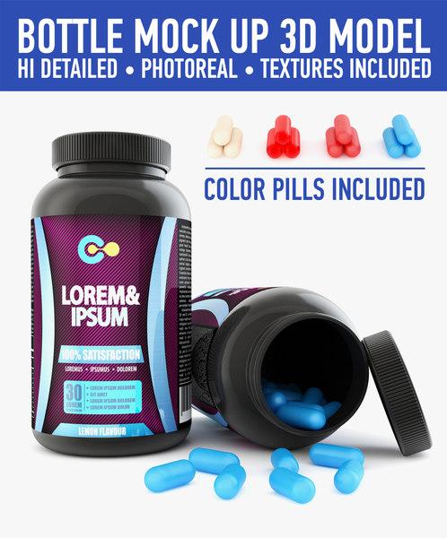 3d 3ds plastic bottle pills