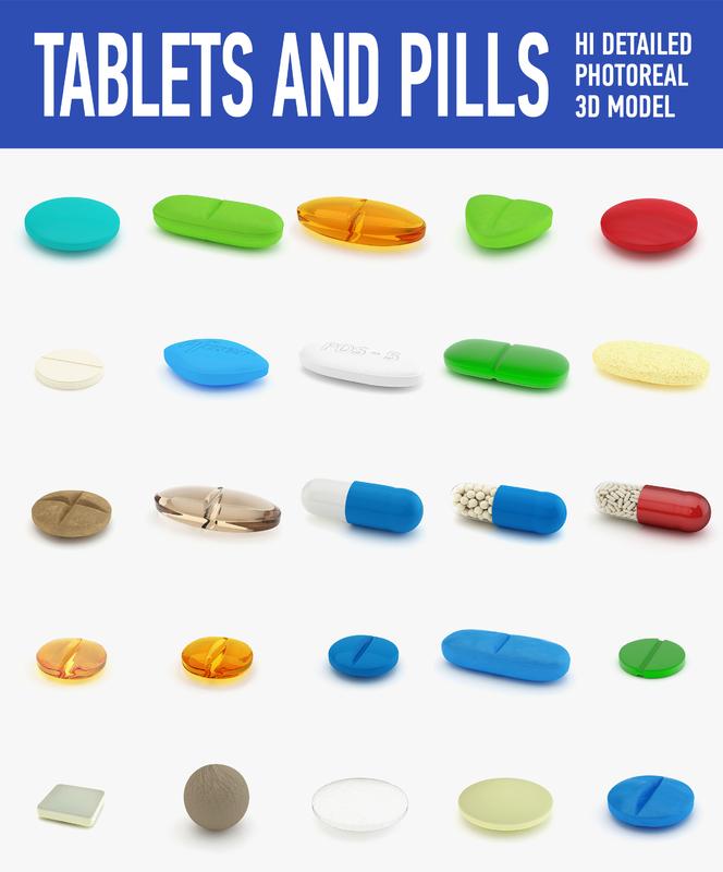 3d model tablets pills