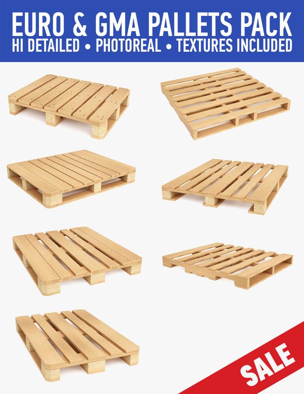 c4d wood pallets pack