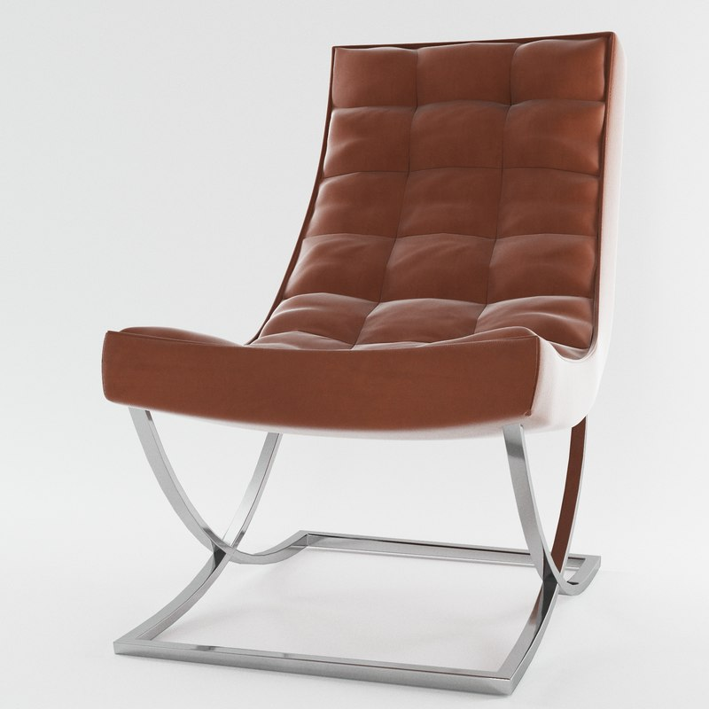 james nickel leather chair 3d model