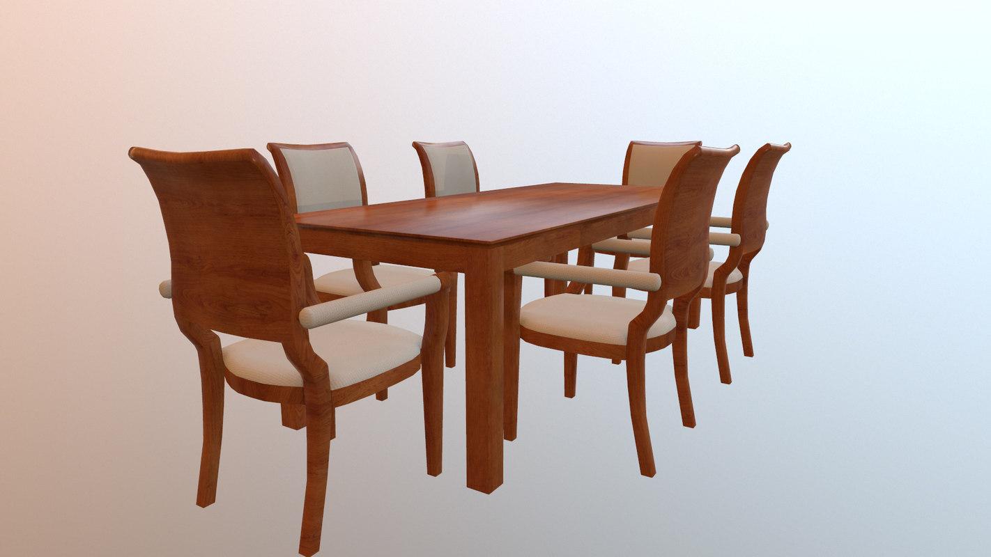 dining set 3d 3ds