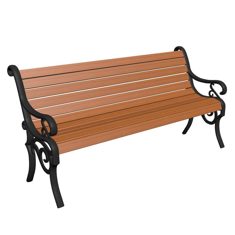 3d model of park bench wood