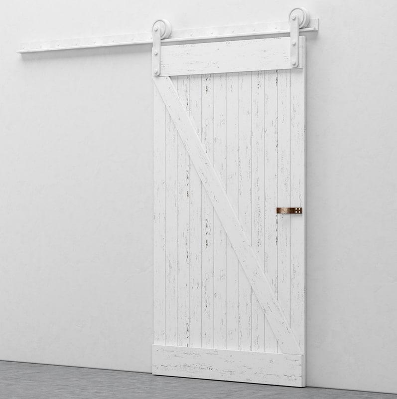 white worn barn door 3d model